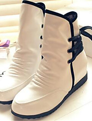 Women's Boots Comfort PU Fall Winter Casual White 2in-2 3/4in