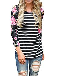 Damen Gestreift Sexy Ausgehen T-shirt,Rundhalsausschnitt Herbst Langarm Polyester