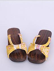 Femme Sabots & Mules Sabots & Mules Coton Tissu Printemps Automne Décontracté Jaune 2,5 à 4,5 cm