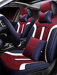 Coussin d'assise de voiture housse de siège en cuir de lin, quatre sièges généraux entourés d'un repose-tête de siège de 2 sièges 2 à 2