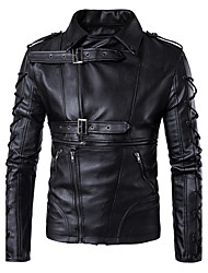 Men's Casual/Daily Simple Fall Winter Leather Jacket,Solid Shawl Lapel Long Sleeve Regular PU