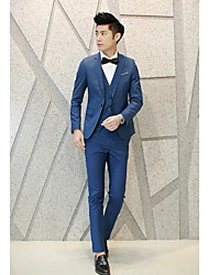 Men's Work Simple Spring Summer Suit,Solid Notch Lapel Long Sleeve Regular Cotton Polyester(Waistcoat Not Include)