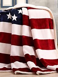Velocino de Coral Bandeira Combinação Poliéster/Algodão cobertores