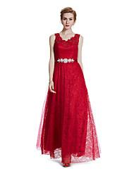 A-ligne v-neck ankle length dentelle robe de mariage robe de fête avec perles