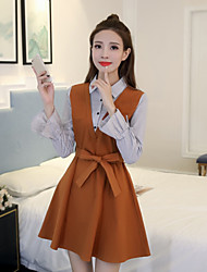 Women's Casual/Daily A Line Dress,Solid Shirt Collar Above Knee Long Sleeves Cotton Fall Mid Rise Inelastic Thin