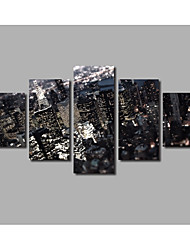 Newly Designed HD Large 5 Panels Framed City Buliding Overlook Scenery Posters Night Landscape Painting on Canvas Wall Artworks