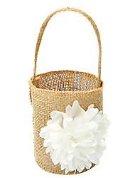 Wedding Bride Burlap Basket Flower Girl Basket Linen 9 7/8 (25 cm) Laces Flower(s) 1