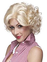 Mujer Pelucas sintéticas Sin Tapa Corto Rizado Rubio Peluca natural Las pelucas del traje