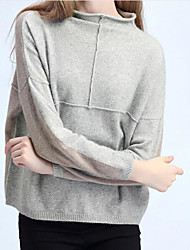 Women's Casual/Daily Simple Regular Cashmere,Solid Round Neck Long Sleeves Others Fall Winter Medium Micro-elastic