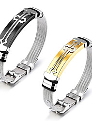 European and American stainless steel accessories cross steel mesh belt stainless steel men's bracelet with bracelet