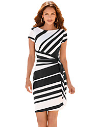 Women's Party Holiday Club Cute Bodycon Dress,Striped Round Neck Above Knee Short Sleeves Polyester Spandex Summer High Rise Stretchy