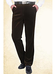 Men's High Rise Micro-elastic Chinos Pants,Simple Straight Solid