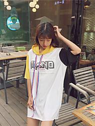 Damen Buchstabe Einfach Lässig/Alltäglich T-shirt,Mit Kapuze Kurzarm Baumwolle