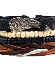 Homme Bracelets de rive Bracelets Bracelets en cuir Mode Vintage Ajustable Personnalisé Fait à la main Cuir Alliage Forme de Cercle Ailes