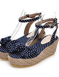 Women's Sandals Comfort PU Spring Summer Casual Comfort Light Blue Navy Blue 3in-3 3/4in
