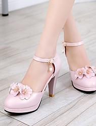 Для женщин Обувь Полиуретан Весна Удобная обувь Обувь на каблуках На шпильке Круглый носок С Назначение Повседневные Белый Синий Розовый