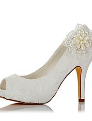 Mujer Sandalias Pump Básico Encaje Satén Verano Otoño Boda Vestido Fiesta y Noche Perla de Imitación Tacón Stiletto Marfil 10 - 12 cms