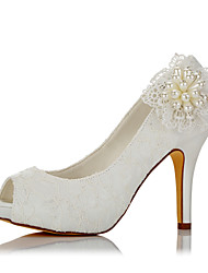 Women's Sandals Basic Pump Satin Summer Fall Wedding Party & Evening Dress Basic Pump Imitation Pearl Stiletto Heel Ivory 4in-4 3/4in