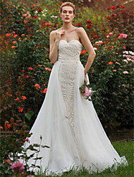 Mermaid / Trumpet Sweetheart Court Train Lace Organza Wedding Dress with Beading Appliques by LAN TING BRIDE®