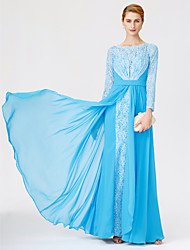 A-Line Ball Gown Scoop Neck Floor Length Chiffon Lace Mother of the Bride Dress with Sash / Ribbon Pleats by LAN TING BRIDE®