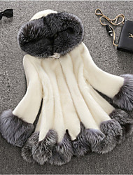 Women's Casual/Daily Simple Winter Fur Coat,Solid Hooded Long Sleeve Long Faux Fur Fur Trim