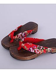 Femme Sabots & Mules Sabots & Mules Coton Tissu Printemps Automne Décontracté Rouge 2,5 à 4,5 cm