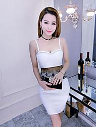 Moulante Robe Femme Soirée Sexy,Couleur Pleine A Bretelles Au dessus du genou Sans Manches Coton Eté Taille Haute Elastique Opaque