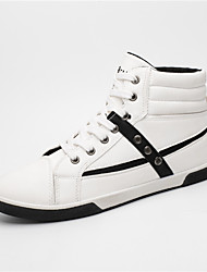 Men's Sneakers Comfort Light Soles Spring Summer Fall Winter PU Walking Shoes Casual Outdoor Buckle Flat Heel White Black Khaki Flat