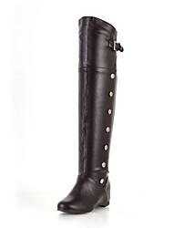 Feminino Botas Botas de Montaria Botas da Moda botas de desleixo Courino Inverno Casual Social Presilha AnabelaBranco Preto Castanho