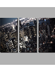 3 Pieces Framed City Buildings Scenery Night Scene Posters For Home Decorate Landscape Painting Printed on Canvas