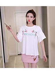T-shirt Gonna Completi abbigliamento Da donna Per uscire Romantico Estate,Ricamato Rotonda Con ricami Mezze maniche Media elasticità