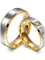 Paar Eheringe Kubikzirkonia Modisch Simple Style Elegant Titan Stahl Zirkon Kreisform Schmuck FürHochzeit Verlobung Alltag Zeremonie