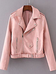 Women's Casual/Daily Simple Spring Fall Leather Jacket,Solid Shawl Lapel Long Sleeve Short Lambskin