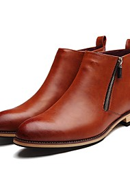 Men's Boots Bootie Spring Summer Fall Winter Patent Leather Casual Office & Career Party & Evening Brown Black 1in-1 3/4in