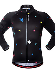 WOSAWE Cycling Jersey Unisex Long Sleeves Bike Jersey Quick Dry Breathability Stretchy Polyester Stars Spring/Fall Mountain Cycling Road
