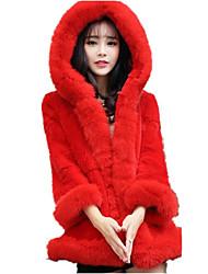 Women's Casual/Daily Cute Fall Winter Fur Coat,Solid Hooded Long Sleeve Long Fox Fur