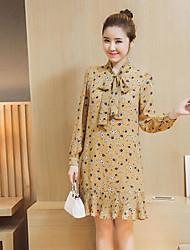 Largo Vestito Da donna-Casual Con stampe Colletto alla coreana Al ginocchio Manica lunga Altro Primavera A vita alta Anelastico Sottile