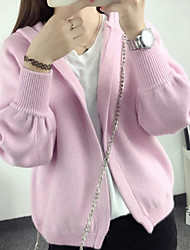 Women's Casual/Daily Short Cardigan,Solid Hooded Long Sleeves Cotton Linen Fall Medium Micro-elastic