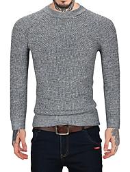 Для мужчин На каждый день Офис Винтаж Простое Обычный Пуловер Однотонный,Круглый вырез Длинный рукав Шерсть Искусственный мех Хлопок