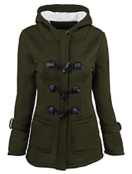 Women's Long Padded Coat,Simple Street chic Plus Size Going out Casual/Daily Solid-Polyester Polyester Long Sleeve