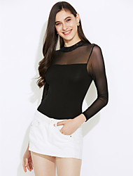 Women's Mid Rise Going out Casual/Daily Rompers,Simple Street chic Slim Mesh Solid Spring Fall
