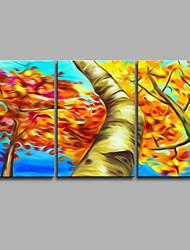 Pintados à mão Botânico Artistíco Abstracto Legal Moderno/Contemporâneo Escritório/Negócio Pastoril Natal Ano Novo 3 Painéis TelaPintura