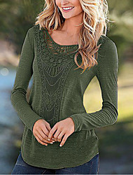 Women's Going out Simple Fall Winter T-shirt,Solid Round Neck Long Sleeve Polyester Medium