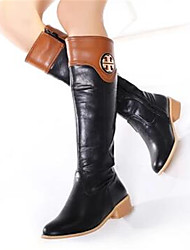 Women's Boots Comfort PU Fall Winter Casual Comfort Brown Black 1in-1 3/4in