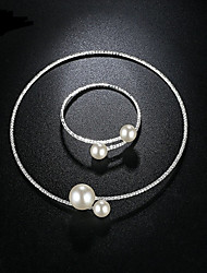 Simple Simulated Pearl Bridal Jewelry Sets Crystal Fashion Wedding Jewelry Necklace Bracelet Sets for Women