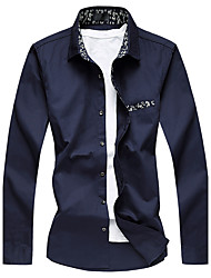 Men's Plus Size Business Casual Slim High Quality Long Sleeved Dress Shirt Cotton Polyester