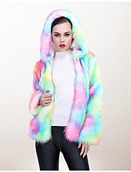 Women's Casual/Daily Simple Winter Fur Coat,Camouflage Hooded Long Sleeve Short PU