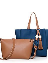 Damen Bag Sets PU Ganzjährig Normal Barrel Bag Reißverschluss Blau Schwarz Rote Grau Braun
