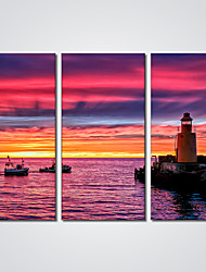 Canvas Print The Lighthouse by the Sea Print Art for Wall Decoration Ready to Hang 30x60cmx3pcs