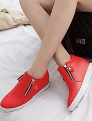 Damen Schuhe PU Frühling Komfort Flache Schuhe Mit Für Normal Weiß Schwarz Rot